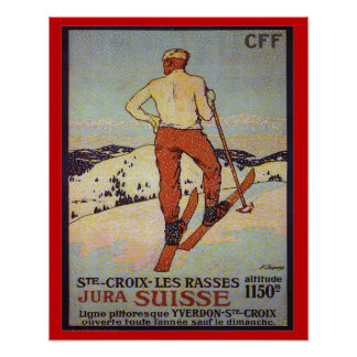 Vintage Ski-St. Croix les rasses, Jura Suisse Poster