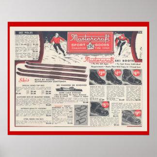 Vintage Skiwerbung, -Skiwear und -ausrüstung Poster