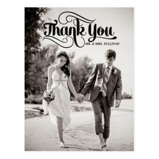 Vintage Skript-Hochzeit danken Ihnen Postkarten