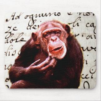 Vintage Skripte lustiger Schimpanse Mousepads