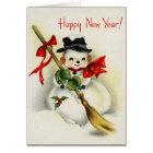 Vintage Snowman-glückliches neues Jahr-Gruß-Karte Karte