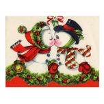 Vintage Snowman-Weihnachtspostkarte Postkarte
