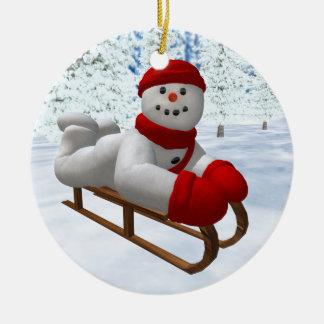 Vintage Snowmen Sledder Weihnachtsornament