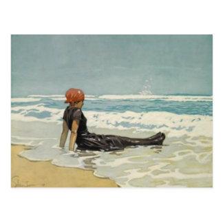 Vintage Sommer-Postkarte vom Strand [kein Text]
