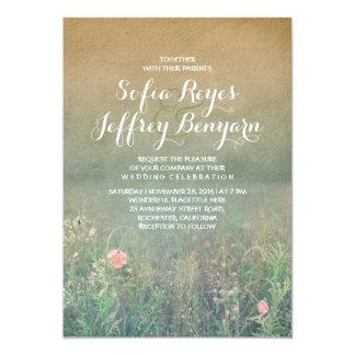Vintage Sommer-Wiesen-elegante und träumerische 12,7 X 17,8 Cm Einladungskarte