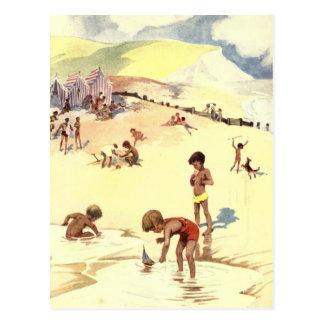 Vintage Sommerferien am Strand Postkarte