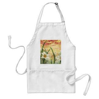 Vintage Sonnenaufgang-Osterlilien und Schürze