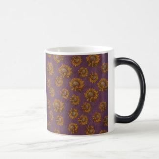 Vintage Sonnenblume-Pflaumen-lila rustikale Verwandlungstasse