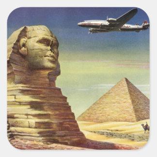 Vintage Sphinx-Flugzeug-Wüsten-Pyramiden Ägypten Quadrat-Aufkleber
