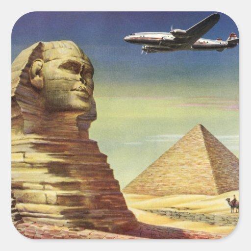 Vintage Sphinx-Flugzeug-Wüsten-Pyramiden Ägypten G Aufkleber