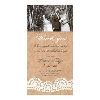 Vintage Spitze-Hochzeit danken Ihnen Foto-Karte Foto Karten