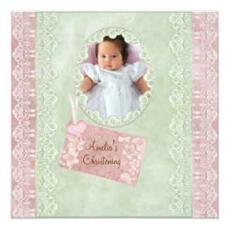 Vintage Spitze-Rosa-Grün-Mädchen-Foto-Taufe Einladungskarten