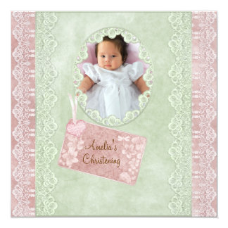 Vintage Spitze-Rosa-Grün-Mädchen-Foto-Taufe Quadratische 13,3 Cm Einladungskarte