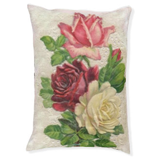 Vintage Spitze und Rosen Haustierbett
