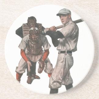 Vintage Sport-Baseball-Spieler mit Schiedsrichter Sandstein Untersetzer