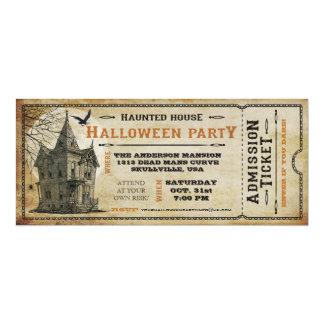 Vintage Spuk Haus-Halloween-Party-Karte I 10,2 X 23,5 Cm Einladungskarte
