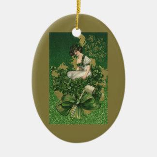 Vintage St Patrick Tagesandenken, irischer Lass Ovales Keramik Ornament