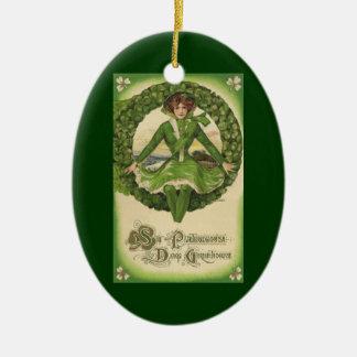 Vintage St Patrick Tagesgrüße, Klee Lassy Ovales Keramik Ornament
