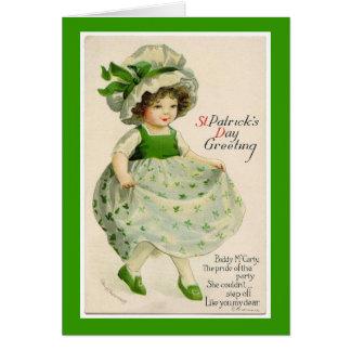 Vintage St Patrick Tagestänzer-Gruß-Karte Karte