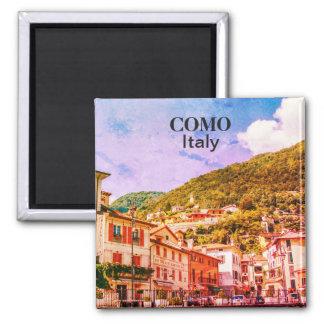 Vintage Stadtandenken Italiens Como Quadratischer Magnet