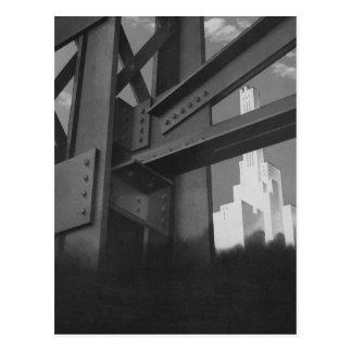 Vintage Stahlbau-Wolkenkratzer-Architektur Postkarte