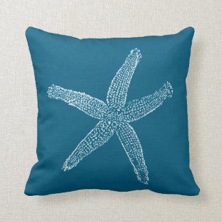 Vintage Starfish-Illustrations-aquamarines Blau Kissen