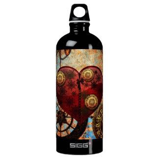 Vintage Steampunk Herz-Tapete Aluminiumwasserflasche
