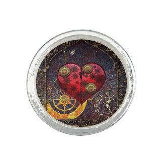 Vintage Steampunk Herz-Tapete Ring