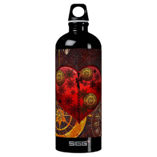 Vintage Steampunk Herz-Tapete Wasserflasche