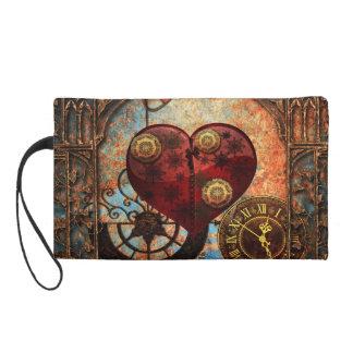 Vintage Steampunk Herz-Tapete Wristlet Handtasche