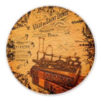 Vintage Steampunk Zug-Tapete Keramikknauf