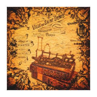 Vintage Steampunk Zug-Tapete Leinwanddruck