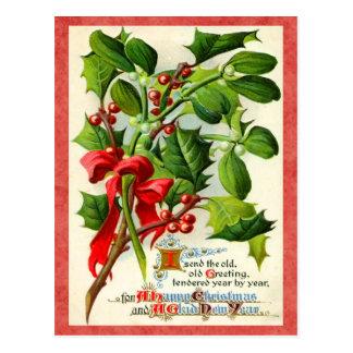 Vintage Stechpalmen-Feiertags-Postkarte