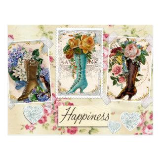 Vintage Stiefel-Blumenentwurfs-Postkarte Postkarte