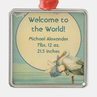 Vintage Storch-Baby-Jungen-Decke, Willkommen zur Quadratisches Silberfarbenes Ornament