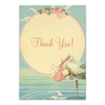 Vintage Storch-Rosa-Mädchen-Baby-Dusche danken Ankündigungskarten