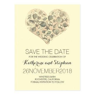 Vintage Strand-Hochzeits-Save the Date Postkarte