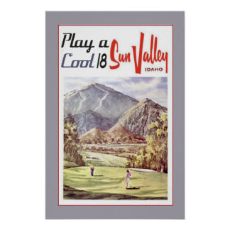 Vintage Sun- Valleygolf-Reise Poster