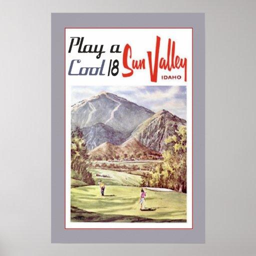 Vintage Sun- Valleygolf-Reise Poster