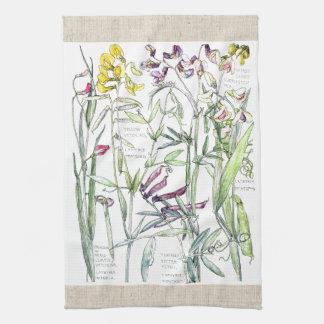 Vintage süße Erbsen-Wicke-Blumen-Küchen-Tücher Handtuch