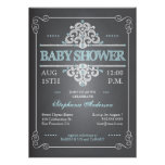 Vintage Tafel-Baby-Duschen-Jungen-Blau-Einladung