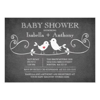 Vintage Tafel-Liebe-Vogel-Baby-Dusche Individuelle Ankündigungskarte