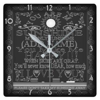 Vintage Tafel sind Sie meine Sonnenschein-Uhr Quadratische Wanduhr
