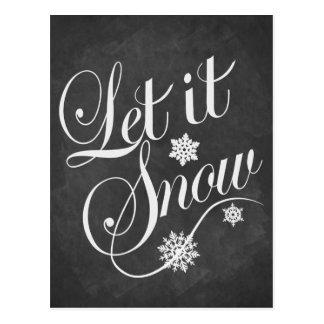 Vintage Tafel Weihnachtskarte ließ es schneien Postkarte