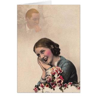 Vintage Tag-Träumende Frau Karte