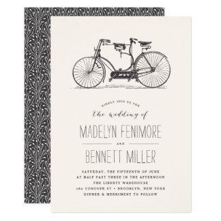 Vintage Tandemfahrrad-Hochzeits-Einladung 12,7 X 17,8 Cm Einladungskarte