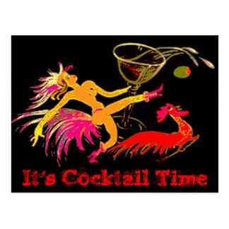 Vintage Tanzen-Dame Martini Rooster Cocktails Bar Postkarte