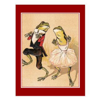 Vintage Tanzen-Frösche Postkarte