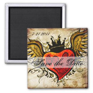 Vintage Tätowierung Winged Magnet des Herzens Save Magnete