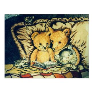 Vintage Teddybedtime-Geschichten Postkarte
